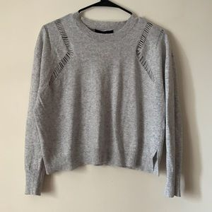 Fate by LFD light gray distressed sweater